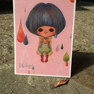 Wearing yellow raincoat postcard