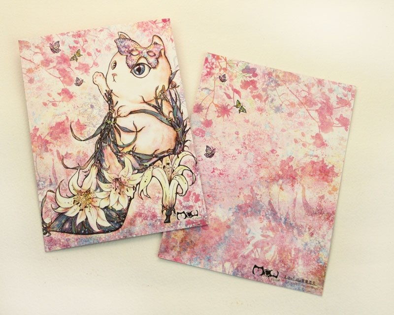 Good meow painted postcard - lily flower heels cat