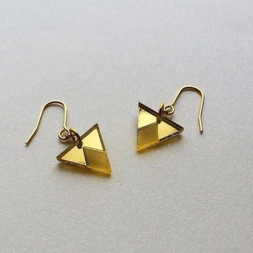 Acrylic mirror earrings Triangle Gold ☆ PAPERMAKE ☆ handmade ☆ accessory ☆