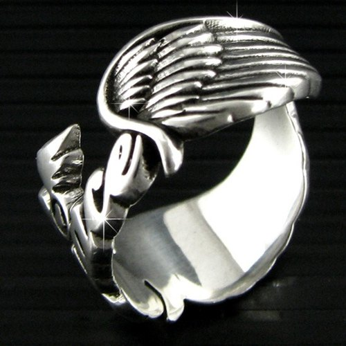 Customized .925 sterling silver jewelry NCRS00006- name Angel Wings Ring (Angel full wing)