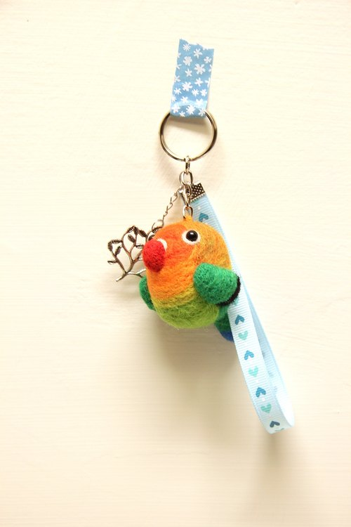Rolia's Handmade wool felt Peony parrot Charm (can be customized)