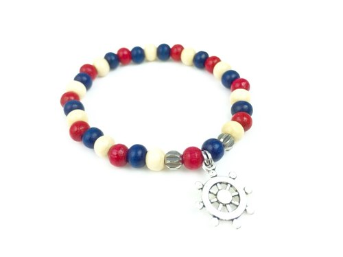 """Red white and blue wooden beads x silver anchor"""