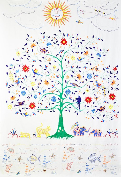 Tree of Life _ hand-embroidered curtain / linens _ _ daytime fair trade