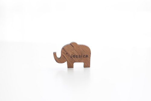 Customized Name Gift Wood Dark Shaped Wood Chips - Cute Like Customize Original wood chip - Elephant