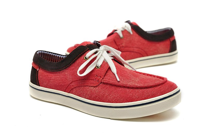 Temple filial piety election Suede mosaic Moka canvas shoes red