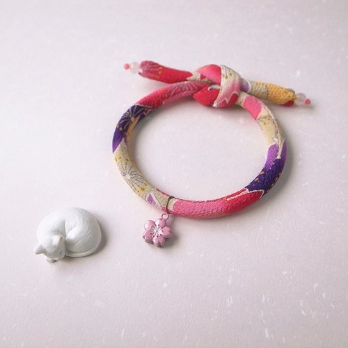 Japanese kimono dog collar & cat collar【Single knot】DarkMagenta_S size