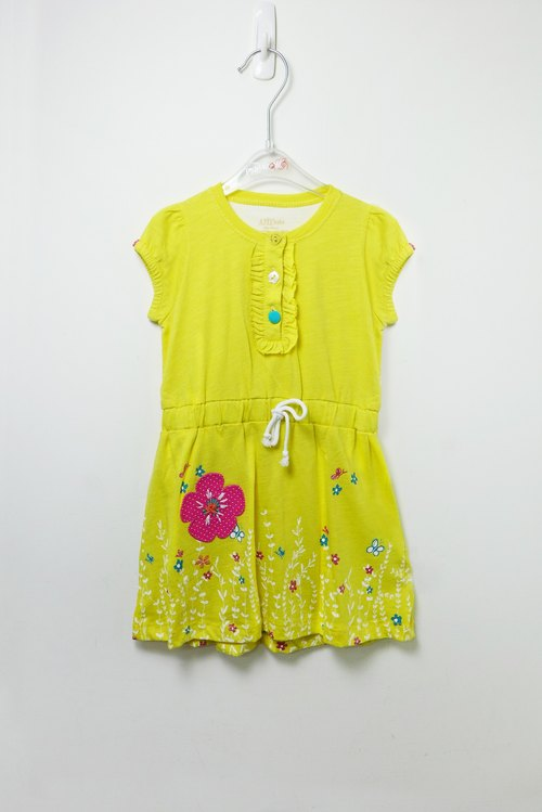 Colorful garden yellow cotton dress