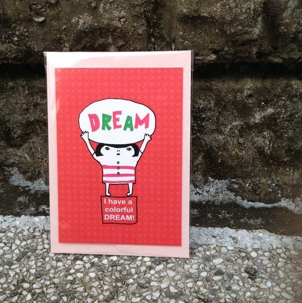 Waste foam illustration cards - I have a dream in color