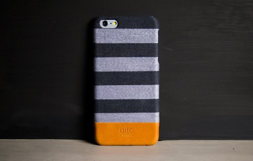 Alto iPhone 6S Plus Leather Case Back Cover Denim - Gray Stripe Gray Zebra