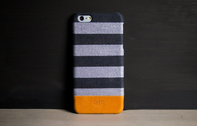 Alto iPhone 6S Plus 真皮手機殼背蓋 Denim - 灰條紋 Gray Zebra