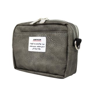 AMINAH-grey leather dual-use carry bag (small) pocket/shoulder bag [am-0266]