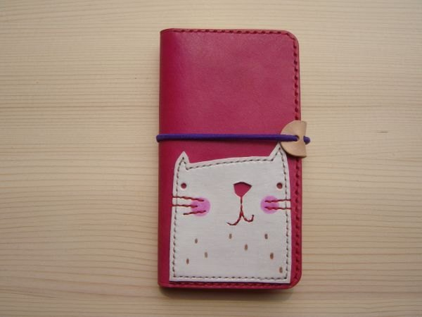 ISSIS - All handmade pink white cat clamshell mobile phone case