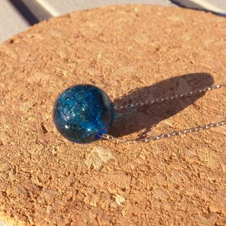 Hand-Dark Blue Glass Silver Necklace [Galaxy] - Small Universe Series Gift Glass Handmade Special Valentine's Day