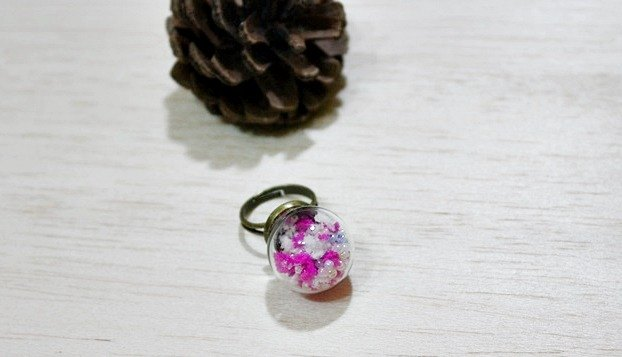 <Flying Snowflakes>-Creative Glass Ball Rings-
