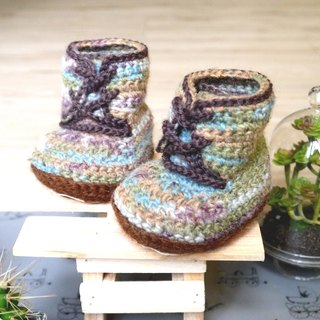 Handmade knit baby shoes ~ handsome Boots (blue-green)
