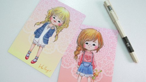 Color pencil girl hair color postcard set (three a group)