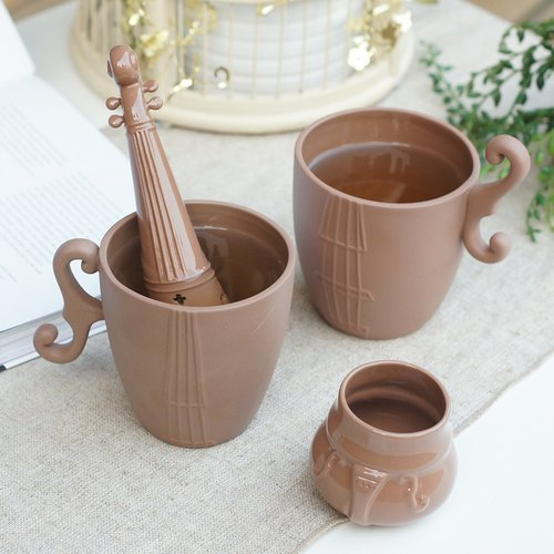 Good co Court violin music tea brewing group (three groups) - Brown