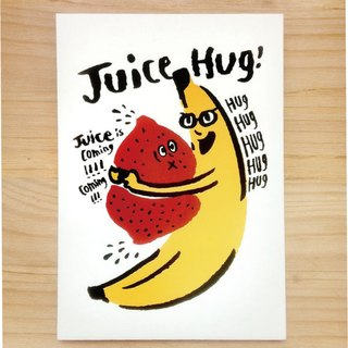 "Wanying Hsu hold the juice postcard ""JUICE HUG"""