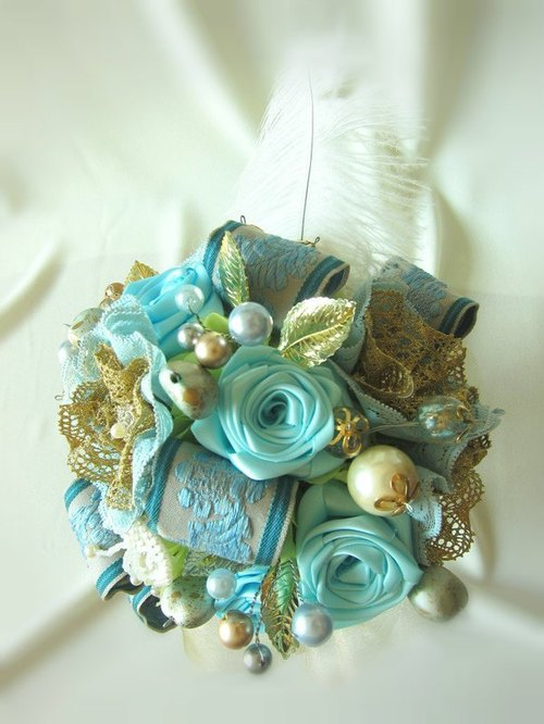 The bride's bouquet bouquet bouquet retro fabric -Blue Noble