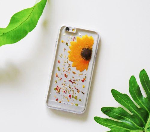 Pressed Flowers Phone Cases - Sun Flower Collection (Ink) for iphone 5/5s/SE/6/6s/6 plus/6s plus/7/7plus/Samsung S4/S5/S6/S6Edge/S7/S7Edge/Note3/Note4/Note5