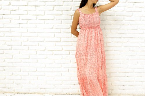 Pedicel print maxi dress <Pink>