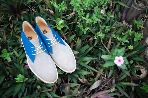 Streetboys Street Walk - Full Leather Handmade Shoes - Grey Blue