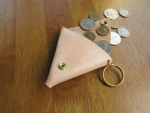 Gold Triangle coin purse tanned leather. Handmade [Jane One Piece]