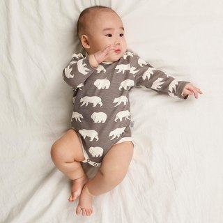 gujui Love Bear (gray) - Organic cotton long sleeve package fart clothing