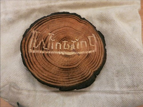 Brandon customized lettering caramel natural wood coaster