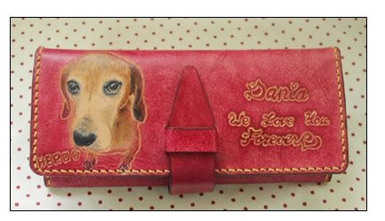 Exclusive custom pet dog portrait purple pure leather long wallet (made Valentine, birthday gifts)