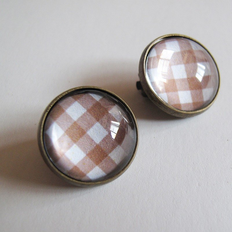 Light brown Scottish pattern ear clip ear acupuncture