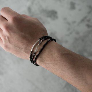 【Woody'sHandmade】夜。墨黑琉璃手串組Night. Ink liu-li bracelet (set)