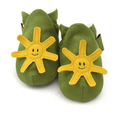 ★ ★ custom handmade shoes FunkyFeet Fashions [British] green sun toddler shoes 0-24M (NT $ 1750) / 2-7Y (NT $ 1950)