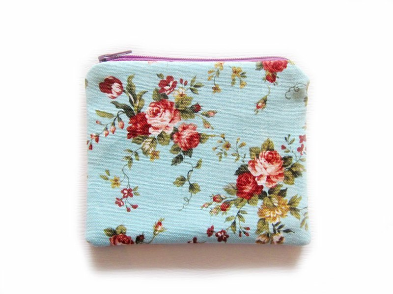 Zipper bag / purse / mobile phone sets Blue Rose