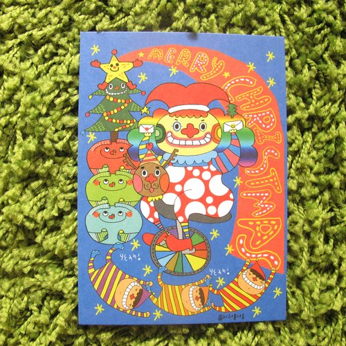 Flowers big nose postcard - Clown Christmas