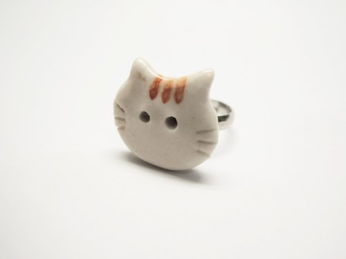 Porcelain cat meow adjustable ring
