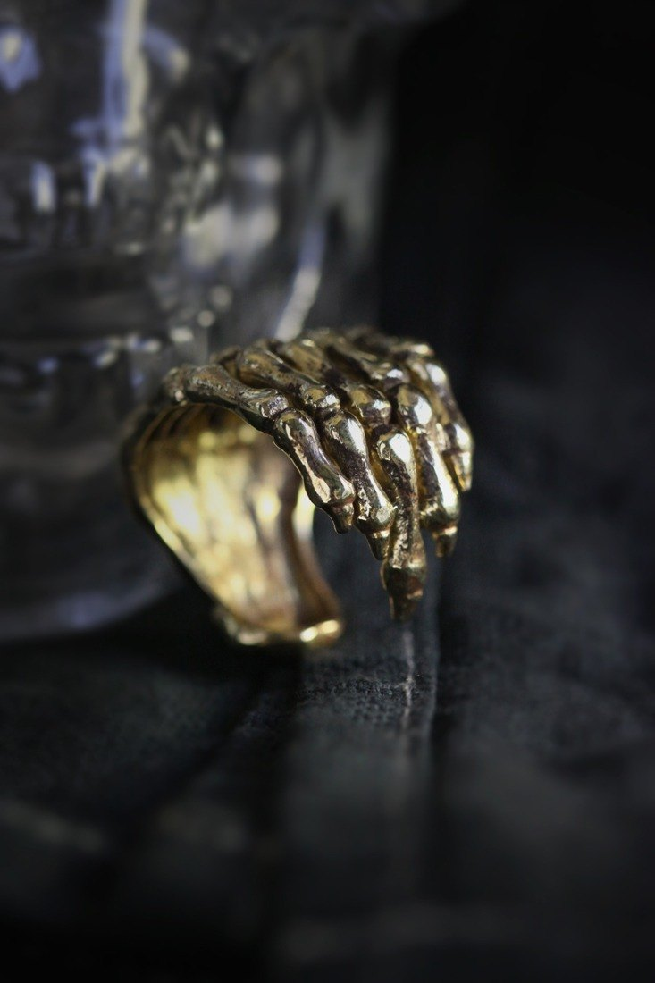 Human Hand Skeleton Ring by Defy / Unisex Handmade Jewelry / Adjustable Rings