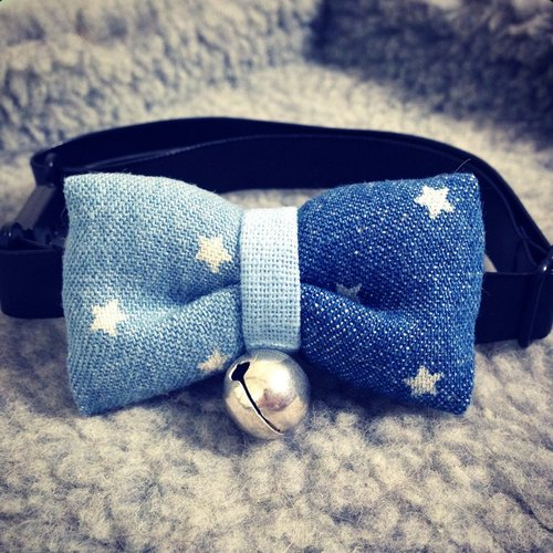 Star color denim fabric bow pet collar dog cat S size