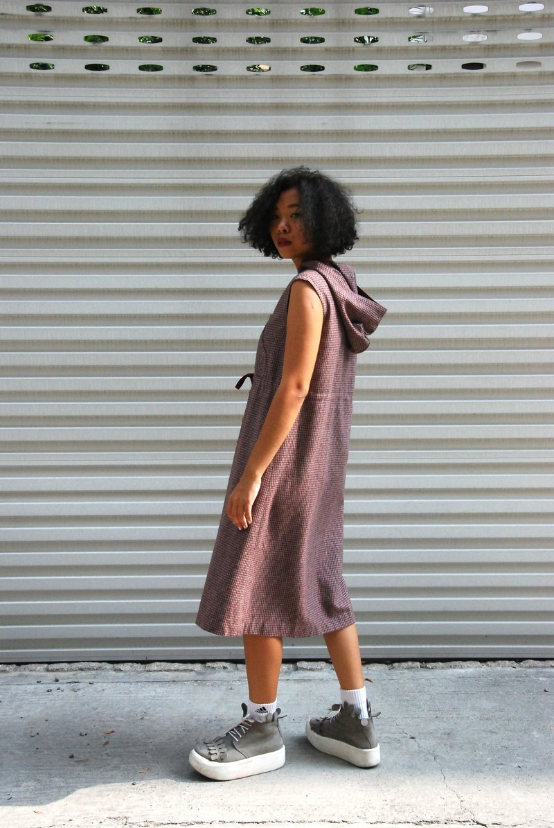 Vintage thick materials with large pockets Hooded Dress