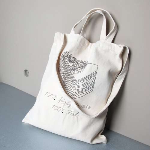 Afternoon tea spell series - Temptation Devil cream cake Cultural & Creative wind straight canvas bag