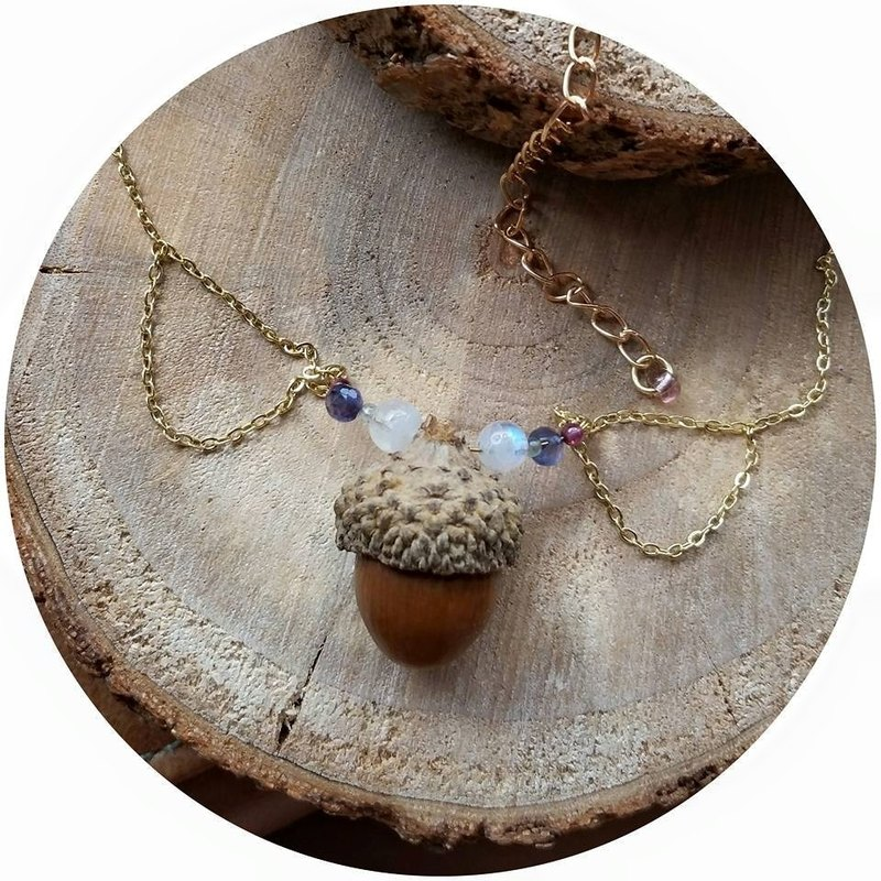 Acorns with natural blue moon stone, super beautiful violet bluestone, pomegranate and aquamarine beads gold plated necklace, limited production