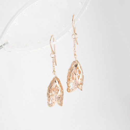 THE REFECTION Earring - Pink gold plated on brass, Long