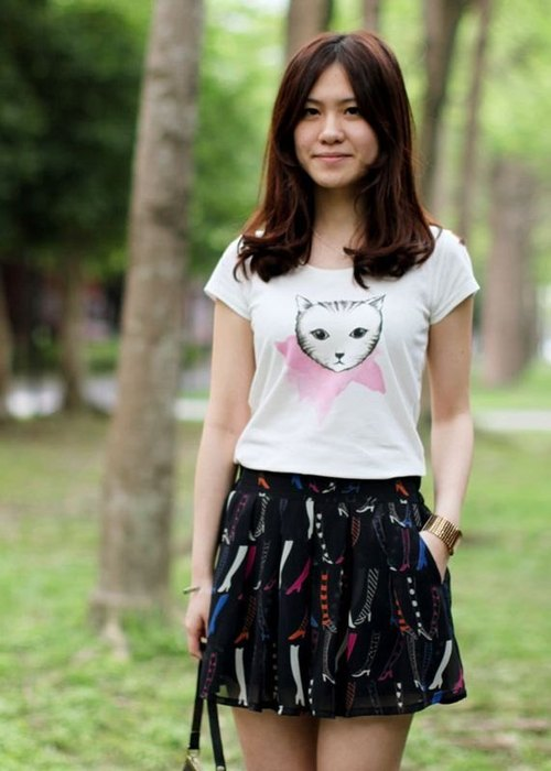 :: GeorgiaTsao :: cat organic cotton T-shirt S / M