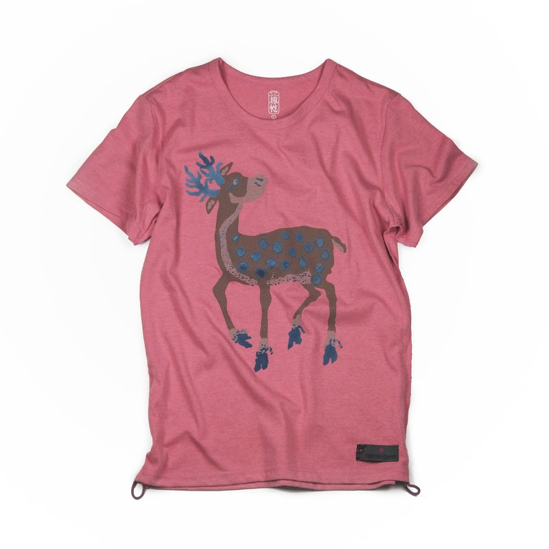 SAMA'PATTIBHYA'M Deer Cotton T-Shirt Twist Coral