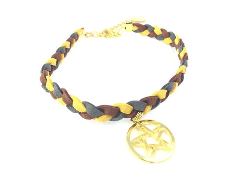 Coffee yellow three-color gray suede necklace - Golden Star logo
