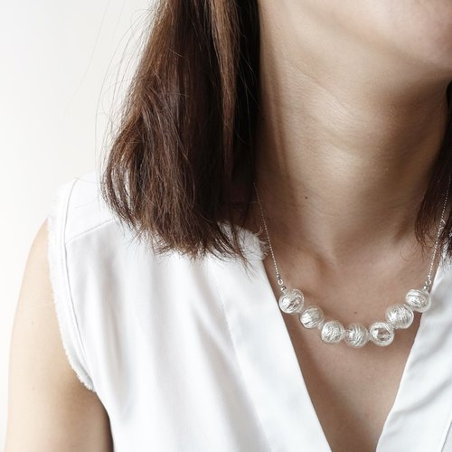 Simple Dots n' Line Glass Bubble Necklace - Silver