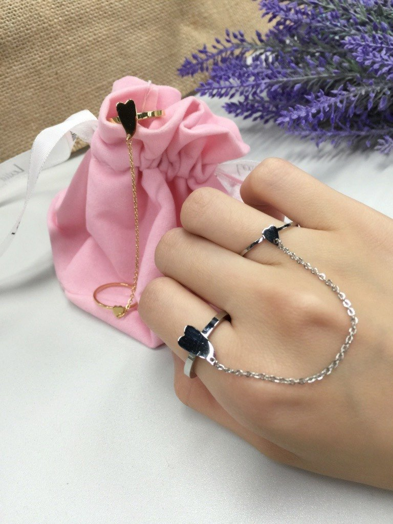 Linking Heart Rings 316L Stainless Steel Gold M13RG S/M/L