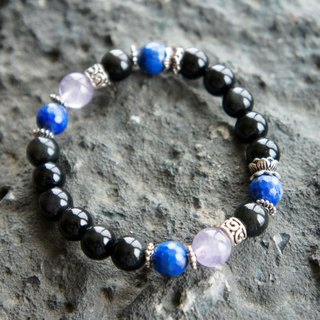 Obsidian Lapis Purple Silver accessories customized elastic bracelet