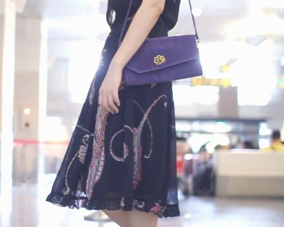 When vintage [purple velvet embossed dorsal antique bag] abroad back to vintage bag VINTAGE