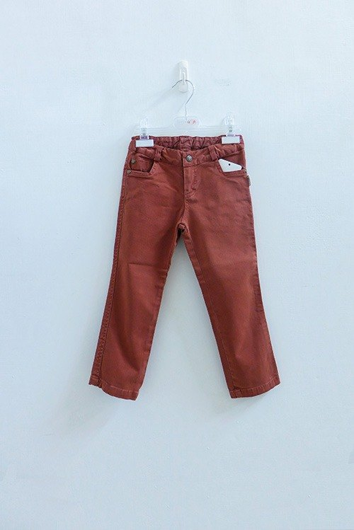 andywawa ocher red brush color denim trousers
